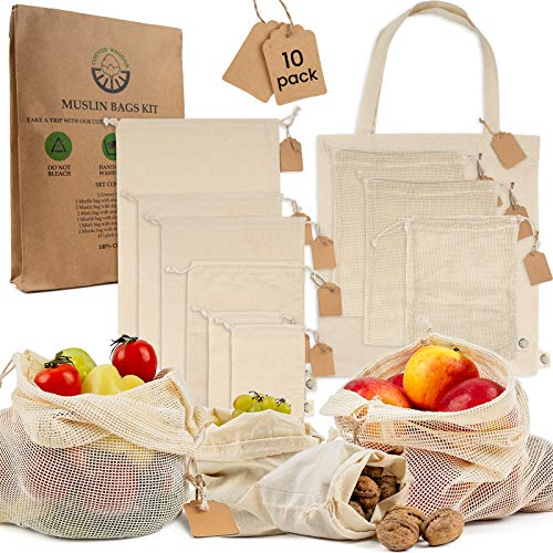 Reusable Produce Bags Organic Set  10 Pack 4 sizes Washable Zero Waste Cotton Muslin Mesh Cloth Grocery Bags with Double Drawstring for Shopping Storage Vegetable Avocado Lettuce Fruits Home Supplies