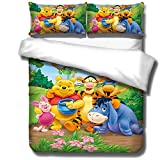 SSLLC Winnie the Pooh 3-Piece Bedding Set with Microfibre Duvet Cover, Gift for Children 3D Printing, Full Size Suitable for Four Seasons (C01, Single 135 x 200 cm)
