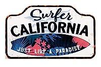 秋月貿易 デザイン小物 Surfer California W40×H24cm アンティーク エンボスプレート MP16016