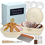 Home Baking Art Banneton Bread Proofing Basket Set, Artisan Sourdough Proofing Kit with 3 Baskets Oval and 2 Round with Linen Liner, Metal Dough Scraper, Scoring Lame, Flouring Stencils and Blades