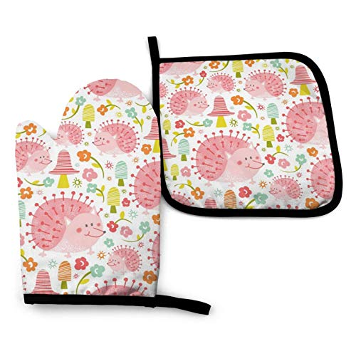 Oven Mitts and Pot Holders Sets, Advanced Heat Resistance Kitchen Mitten Counter Safe Mats, Pink Hedgehog Cotton Lining Non-Slip Food Grade Baking Gloves for Cooking BBQ Grilling