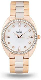Sunex Women's White Dial Stainless Steel Band Watch, S6271RGW