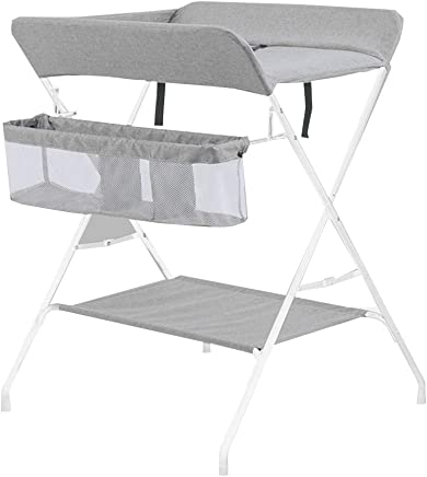 ZAQI Folding Baby Changing Table  Ideal For Traveling  Baby Storage Station  Metal Linen  Color Gray