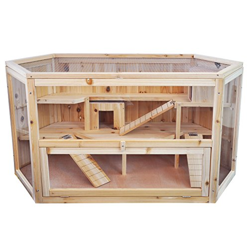 Niteangel Large Wooden Hamster Cage, 45.5 x 23.5 x...