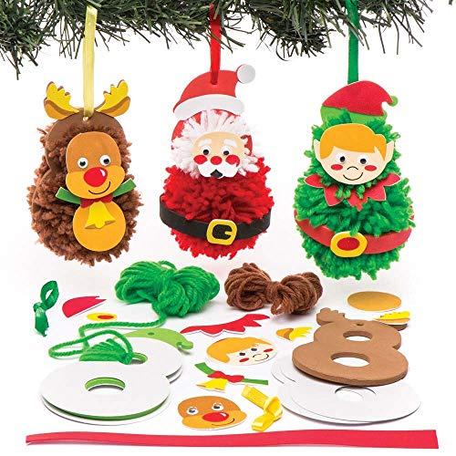 Baker Ross Pom Poms Weihnachtsdekoration - Kreative Weihnachtskunst und Bastelbedarf für Kinder zum Basteln und Dekorieren (3er-Pack)