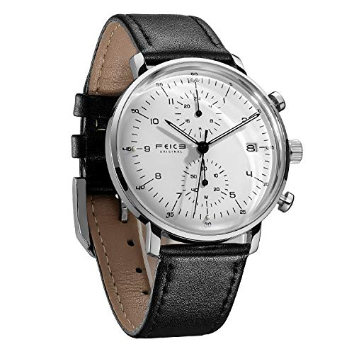 FEICE Men's Watches Ultra Thin Analog Quartz Watch Stainless Steel Waterproof Dual Time Casual Watches for Men with Leather Bands Calendar -FS021 (White)