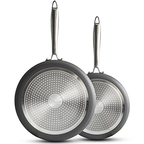 VonShef Premium Fry Pan/Saute Pan 9.5 Inch and 11 Inch Twin Set - Hard Anodized Aluminum/Frying with...