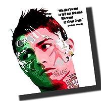 クリスティアーノ・ロナウド ポルトガル代表 海外サッカーアートパネル 木製 壁掛け インテリア ポスター (26*26cm アートパネルのみ)