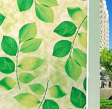 Pegatina electrostática de Hoja Verde Pegatina de sombreado de Puerta Impermeable, película de Ventana de privacidad, Adecuada para el hogar y la Oficina Z 45x100cm