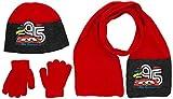 DISNEY Cars - Conjunto 3 Pcs Bufanda + Guantes + Gorro infantil, color Rojo, talla 52