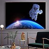 NIMCG Tierra Cartel e impresión Astronauta Nebulosa Espacio Arte Lienzo Pintura Sala Decoración Imagen de la Pared (Sin Marco) 40x50CM