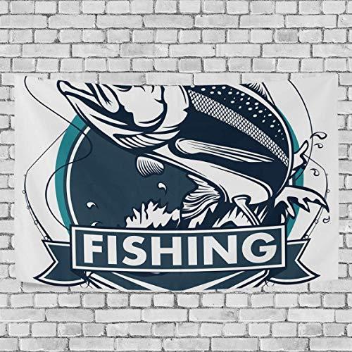 N\A Emblemas de Pesca de salmón Vintage Tapiz de Dormitorio Exclusivo para Colgar en la Pared Tapices de Fondo Multiusos para Sala de Estar, Entrada y Cocina