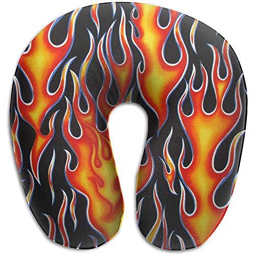 Warm-Breeze U-förmiges Kissen, Nackenkissen, Reisekissen, Plane Pillow Wheels On Fire aus schwarzem und orangefarbenem Memory Foam
