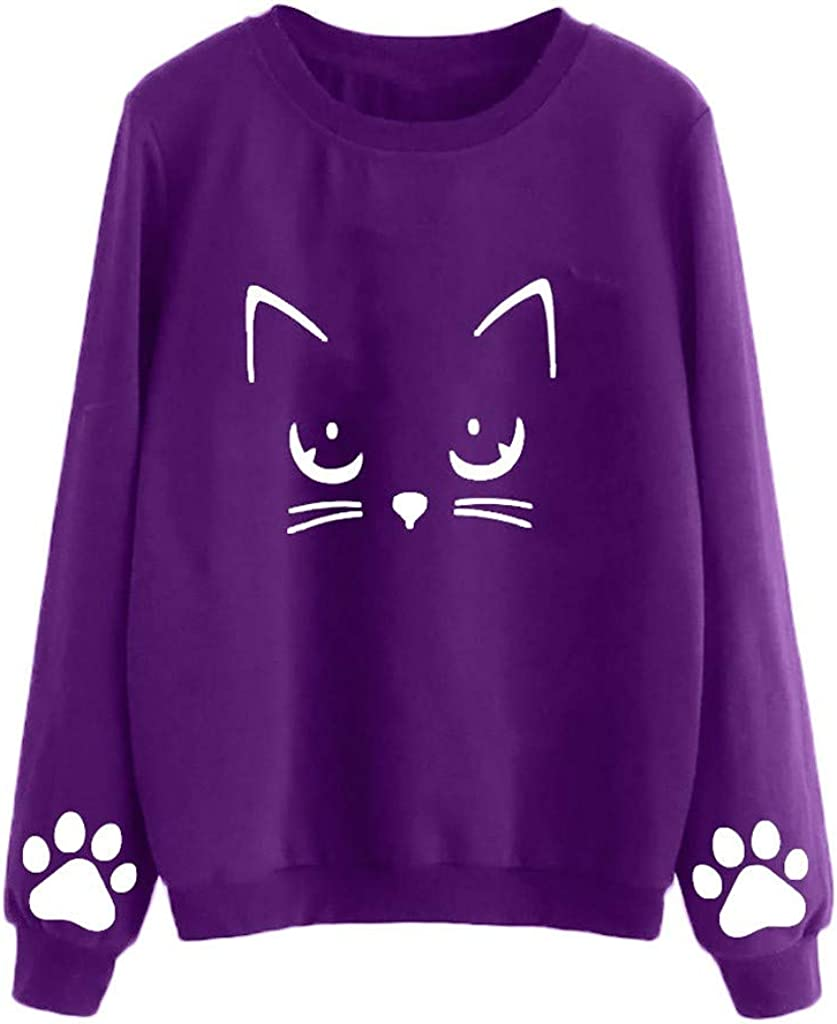 Sweatshirts for Teen Girls, Misaky Cartoon Cat Print Long Sleeve Crewneck Pullover Sweatshirt Blouse Tops