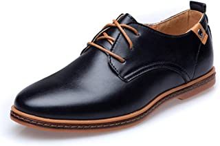 Oxford Leather Casual Men Shoes Fashion Men Flats Round Toe Comfortable Office Oxford Shoes Dress Shoes EU Size 38-44 Derby Saddle Shoes (Color : Black, Size : 44)