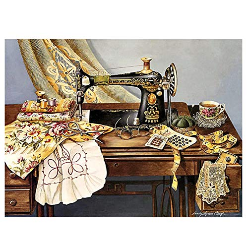 HuaCan Diamond Painting Kits for Adults DIY 5D Full Square Drill Sewing Machine Picture Crystal Rhinestone Photos Embroidery Pictures Arts Craft for Home Wall Decor 30x40cm/11.8x15.7in