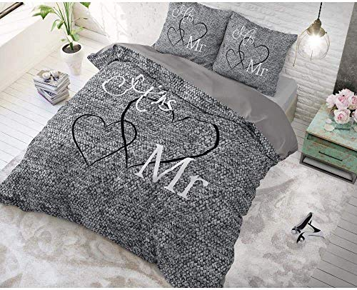 SLEEP TIME Bettwäsche Baumwolle Mr. And Mrs 3, 200cm x 200cm, Mit 2 Kissenbezüge 80cm x 80cm, Grau