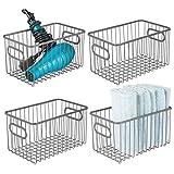 mDesign Set da 4 contenitori con maniglie integrate – Grande organizer da bagno in filo metallico – Pratico cesto per cosmetici, accessori bagno e asciugamani – grigio scuro