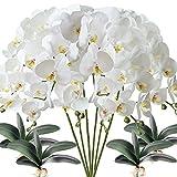 fagushome 6 pz fiori orchidea phalaenopsis fiori artificiali 80cm con 4 pz foglie d'orchidea phalaenopsis artificiale fiori finti