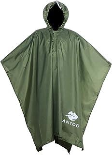 Blue per Adulti Uomini Donne Impermeabile Trasparente Riutilizzabile Pioggia Poncho Cappuccio EVA Lunga Uk