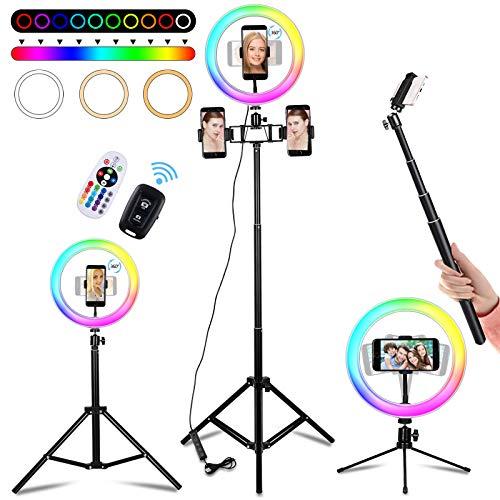 """10"""" Aro de Luz con Tripode y 3 Soporte para Teléfono, 18 Colores Anillo de Luz con Bluetooth y Control Remoto Inalámbrico, 10 Brillos Regulables Ring Light, Aro de Luz para Movil Tik Tok, YouTube"""