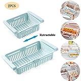 HJHY@ Boîte de Rangement pour Tiroir de Réfrigérateur Rétractable Organisateur Frigo Rangement Range-étagère Paniers À Aliments pour réfrigérateur, congélateurBlue