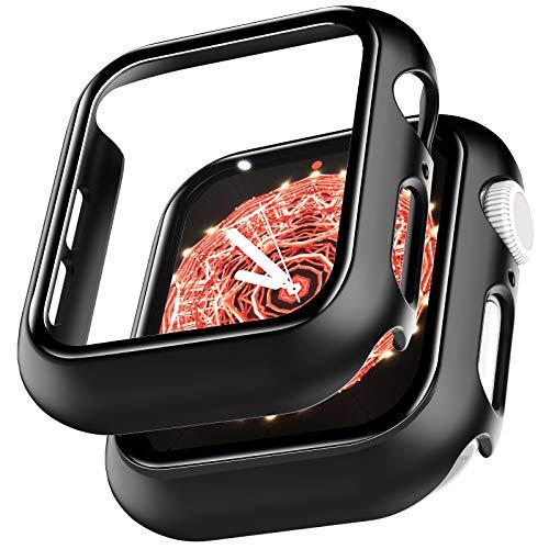 LϟK 2 Stücke Hülle mit Displayschutz für Apple Watch 44mm Series 6 5 4 SE - HD Clear Kratzfest - 360° Rundum Schutzhülle Ultradünne PC Hardcase