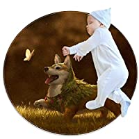 エリアラグ軽量 子犬の蝶 フロアマットソフトカーペット直径39.4インチホームリビングダイニングルームベッドルーム