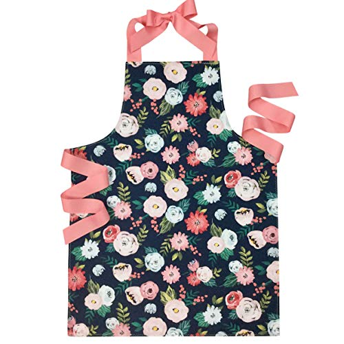 Handmade Pink and Navy Blue Flowers Tween Girl Apron Gift for Baking Kitchen Art