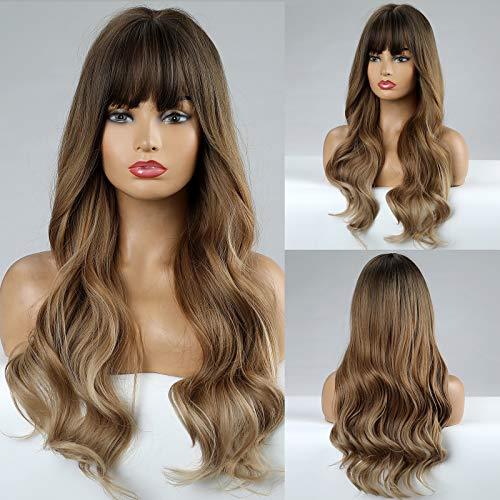 HAIRCUBE Pelucas onduladas largas Pelucas marrones Pelucas de pelo sintético para mujeres Pelucas de calor rizado natural para uso diario Peluca
