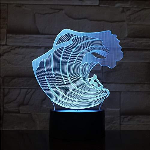 olwonow 3D-1606 Surfing LED Acryl Nachtlicht mit 7 Farben Touch Fernbedienung Illusion Change Home Decoration Lights
