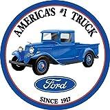 Desperate Enterprises Ford - Trucks Round Tin Sign, 11.75' Diameter