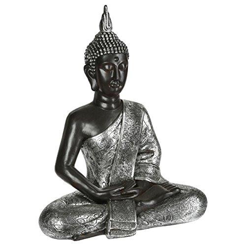 Paris Prix Atmosphera Créateur d'intérieur - Statue Déco Bouddha 62cm Naturel & Argent