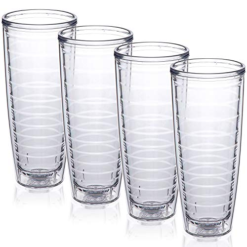 4-pack Insulated 26 Ounce Tumblers - Drinking Glasses Made in USA - Clear (26oz Insulated Cups)