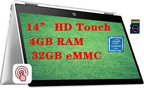 HP Chromebook x360 14 Premium 2 in 1 Laptop I 14' HD Touchscreen Anti-Glare I Intel Celeron N4000 I 4GB DDR4 32GB eMMC I Intel UHD Graphics 600 USB-C WiFi B&O Webcam Chrome OS + 16GB Micro SD Card