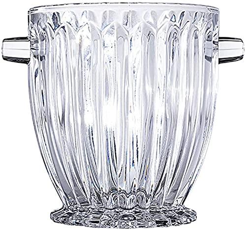 LLDKA Elegante Cubo de Hielo de Cristal con Asas, Cubo de refrigerador de Vino, Cubo de Vidrio, Caja Fuerte Barra de Hielo Cubo de Hielo