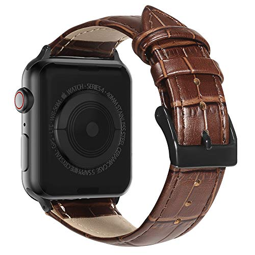 MARGE PLUS Compatible with Apple Watch Band 44mm 42mm with Case, Alligator Grain Calf Genuine Leather Strap Replacement for iWatch Series 5/4/3/2/1 Sport and Edition, Brown