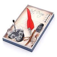 Cafshinu ヴィンテージ羽ペンマルチカラーメタル万年筆セット庁は5ニブのギフトボックスセットを送信するためにクリエイティブギフト用品 (Color : レッド, Size : フリー)