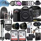 Nikon D500 DSLR Camera 20.9MP CMOS Sensor with AF FX NIKKOR 50mm f/1.8D Lens, 2 Pack SanDisk 32GB Memory Card, Backpack, Full Size Tripod & A-Cell Accessory Bundle (Black)