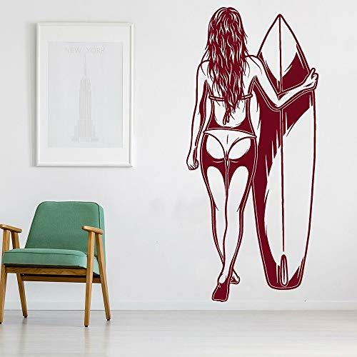 Surfer muur sticker badpak badpak sexy naakt meisje surfplank watersport hobby surfen vinyl muursticker woonkamer decoratie