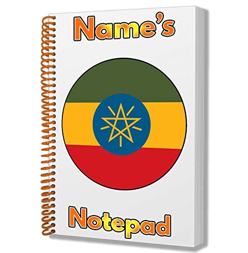 Gepersonaliseerd geschenk - Ethiopië Vlag A5 Kladblok/Notitieboekje - Cadeau - Verjaardag - Kerstmis - Kachelvuller - Geheime Kerstman - ADD Elke Naam