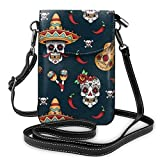 XCNGG bolso del teléfono Premium PU Leather Crossbody Bag Cell Phone Purse, Lightweight Mini smart phone Pouch with Adjustable Shoulder Strap, Guitar Pepper Sugar Skull