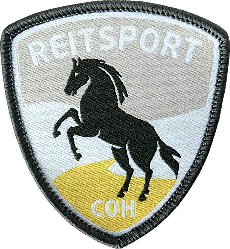 2 x Reitsport Abzeichen gewebt 55 x 60 mm / Pferd Reiten Pferde-Sport Reit-Abzeichen / Aufnäher Aufbügler Flicken Sticker Patch / Reit-Bekleidung Reit-Ausrüstung Dressur Spring Voltigieren Reitkunst
