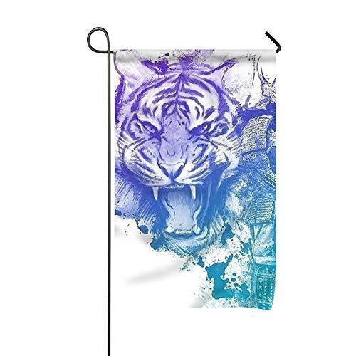 Samurai doré Violet Tiger12x18 Pouces Prime Garden Flag pour Les Jardins Fade Resistant Garden Yard Flag