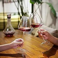 ブルゴーニュグラス、ゴブレット、赤ワイングラス、6/4/2,550/650 ml、透明ワイングラス、茎ワインカップ、結婚記念日バレンタインデーのためのテイスティングカップメガネ (Color : 650ML, Size : 4PCS)
