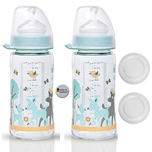 NIP Szklana butelka z szeroką szyjką w kolorze kremowym // zestaw 2 szt. // szklana butelka dla niemowląt // 240 ml // z przyssawką z szeroką szyjką anatomiczna, silikon, rozm. 0+, mleko