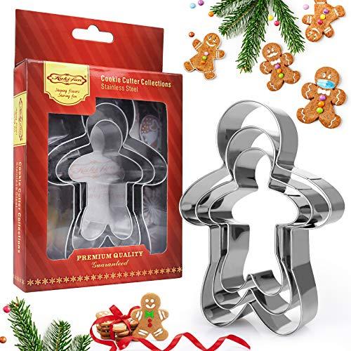 GUBOOM Ausstechformen Weihnachten Set, Lebkuchenmann Ausstecher, Weihnachten Plätzchenausstecher aus Edelstahl - für Tortendeko Kekse Backen Küche Zubehör(3 Größ) (Lebkuchenmann)