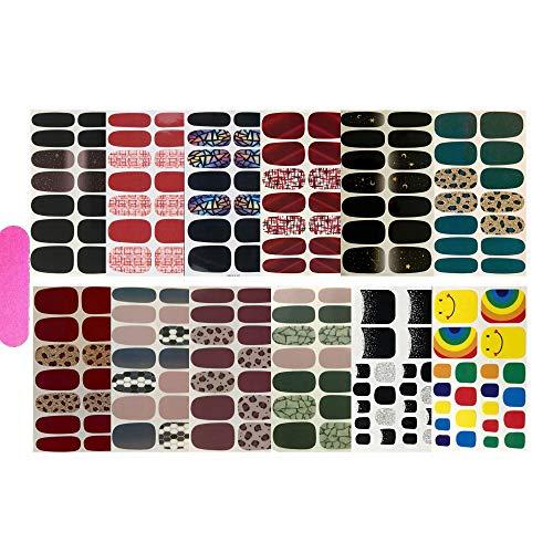 NAIL ANGEL 12pcs Nail Art Wrap Full-Cover Finger Sticker and Toe Sticker Nail Art Sticker Nail Strips for Women 10053