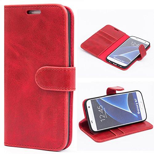 Mulbess Handyhülle für Samsung Galaxy S7 Hülle, Leder Flip Hülle Schutzhülle für Samsung Galaxy S7 Tasche, Wein Rot
