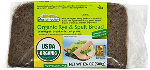 Mestemacher Bread, Organic Rye & Spelt, 17.6 Ounce Packages (Pack of 12)